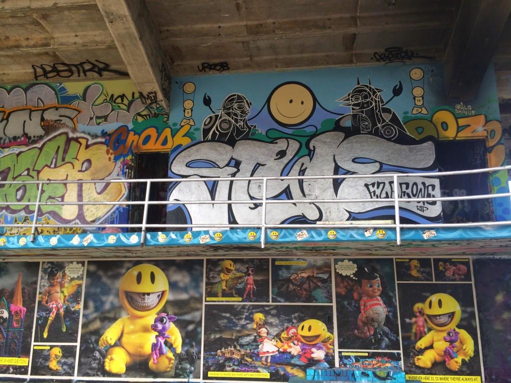 artists paint murals at the miami marine stadium